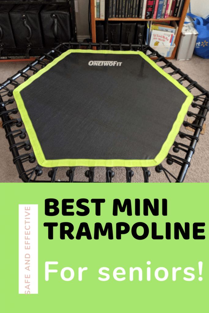 a mini exercise trampoline with title best mini trampoline for seniors